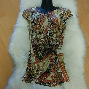 Cache Leopard & Floral Sleeveless Tunic Top